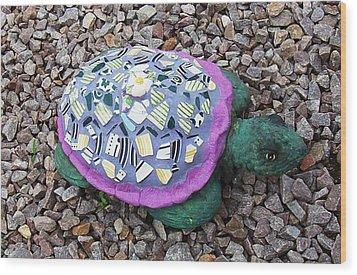 Mosaic Turtle Wood Print by Jamie Frier