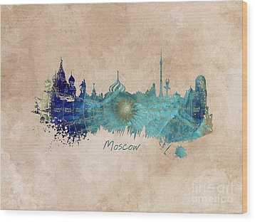Moscow Skyline Wind Rose Wood Print by Justyna JBJart