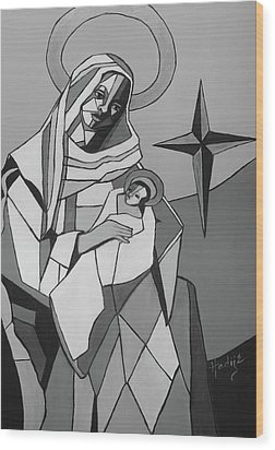 Mother Mary And Son Jesus Wood Print by Mary DuCharme