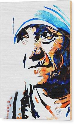 Mother Teresa Wood Print by Steven Ponsford