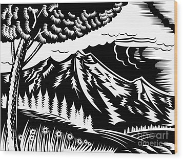 Mountain Scene Woodcut Wood Print by Aloysius Patrimonio