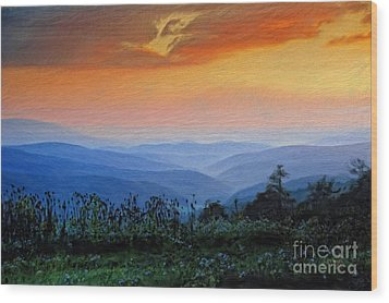 Mountain Sunrise Wood Print by Lois Bryan