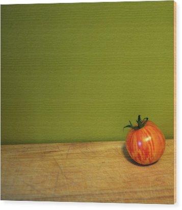 Mr. Stripey Wood Print by Michelle Calkins