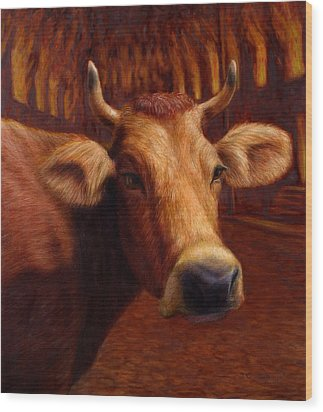 Mrs. O'leary's Cow Wood Print by James W Johnson