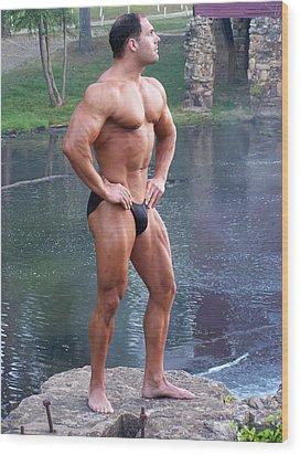 Muscleart Marius Full Pose Wood Print by Jake Hartz