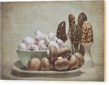 Mushrooms And Carvings Wood Print by Tom Mc Nemar