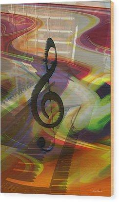 Musical Waves Wood Print by Linda Sannuti