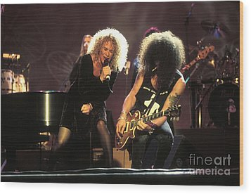Musicians Carol King And Slash Wood Print by Concert Photos