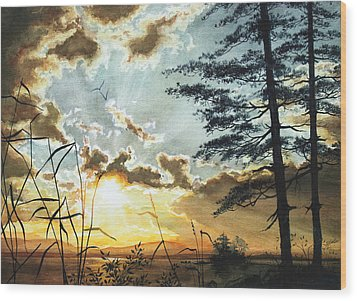 Muskoka Dawn Wood Print by Hanne Lore Koehler