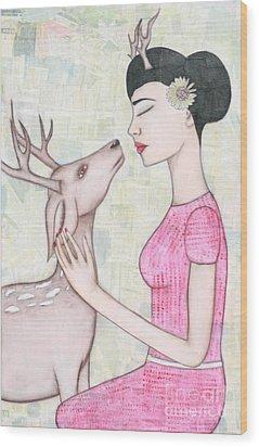 My Deer Wood Print by Natalie Briney
