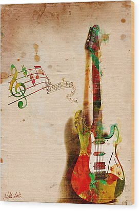My Guitar Can Sing Wood Print by Nikki Smith