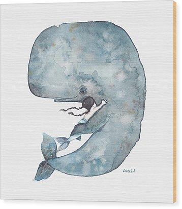 My Whale Wood Print by Soosh