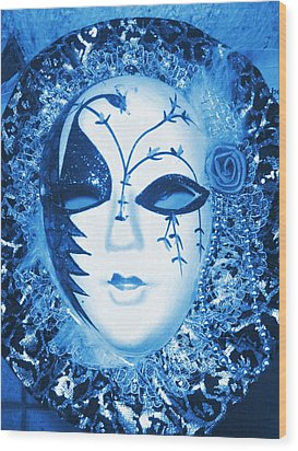 Mysterious Mask Wood Print by Anne-Elizabeth Whiteway
