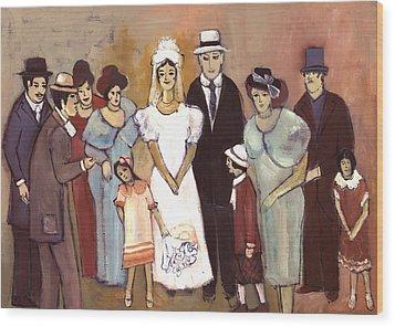 Naive Wedding Large Family White Bride Black Groom Red Women Girls Brown Men With Hats And Flowers Wood Print by Rachel Hershkovitz