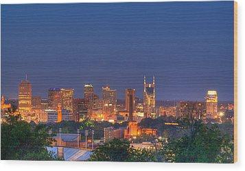 Nashville By Night Wood Print by Douglas Barnett