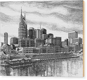 Nashville Skyline Ink Drawing Wood Print by Janet King