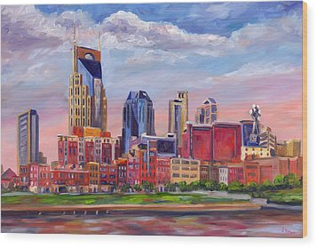 Nashville Skyline Painting Wood Print by Jeff Pittman