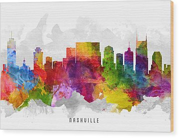 Nashville Tennessee Cityscape 13 Wood Print by Aged Pixel