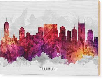 Nashville Tennessee Cityscape 14 Wood Print by Aged Pixel