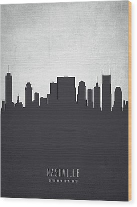 Nashville Tennessee Cityscape 19 Wood Print by Aged Pixel