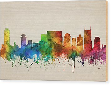 Nashville Tennessee Skyline 05 Wood Print by Aged Pixel