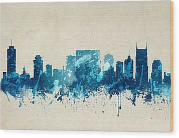 Nashville Tennessee Skyline 20 Wood Print by Aged Pixel