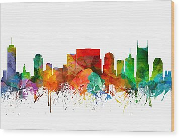 Nashville Tennessee Skyline 21 Wood Print by Aged Pixel