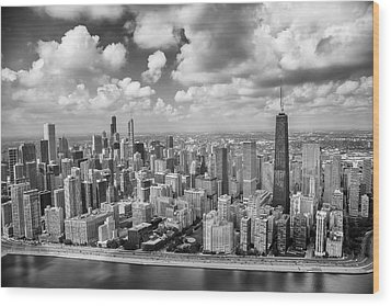 Near North Side And Gold Coast Black And White Wood Print by Adam Romanowicz