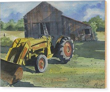 Neighbor Dons Tractor Wood Print by Marsha Elliott