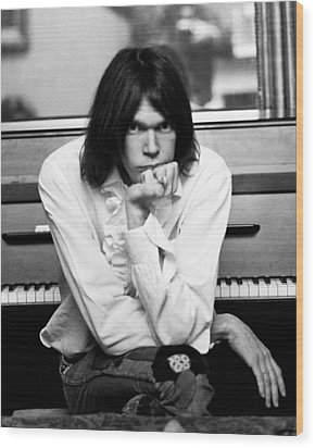 Neil Young 1970 Wood Print by Chris Walter