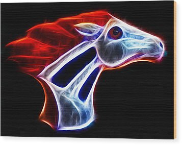 Neon Bronco Wood Print by Shane Bechler