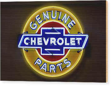Neon Genuine Chevrolet Parts Sign Wood Print by Mike McGlothlen