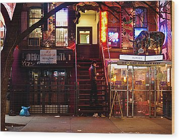 Neon Lights - New York City At Night Wood Print by Vivienne Gucwa
