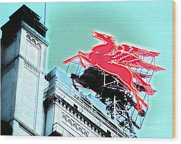 Neon Pegasus Atop Magnolia Building In Dallas Texas Wood Print by Shawn O'Brien