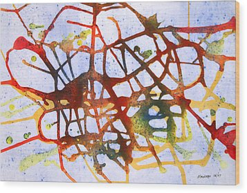 Neuron Wood Print by Mordecai Colodner