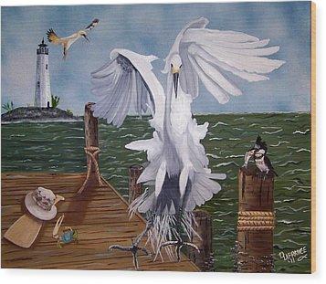 New Point Egret Wood Print by Debbie LaFrance