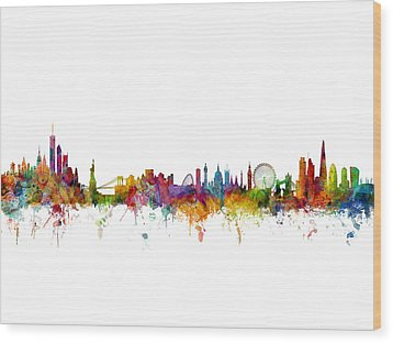 New York And London Skyline Mashup Wood Print by Michael Tompsett