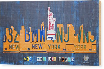 New York City Skyline License Plate Art Wood Print by Design Turnpike