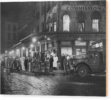 New York City Street At Night, Circa Wood Print by Everett