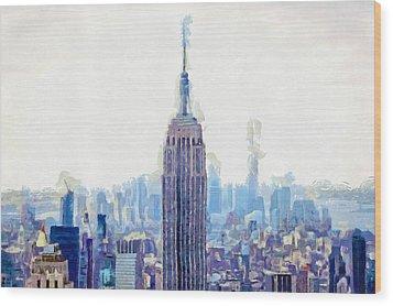 New York Skyline Art- Mixed Media Painting Wood Print by Wall Art Prints