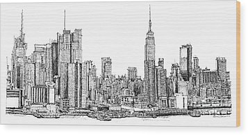 New York Skyline In Ink Wood Print by Adendorff Design