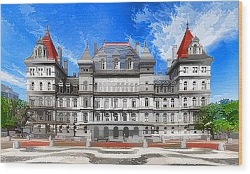 New York State Capitol Wood Print by Lanjee Chee