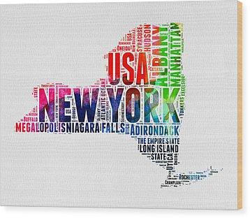 New York Watercolor Word Cloud Map Wood Print by Naxart Studio