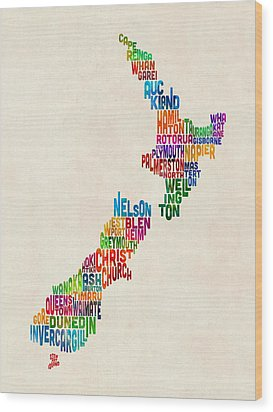 New Zealand Typography Text Map Wood Print by Michael Tompsett