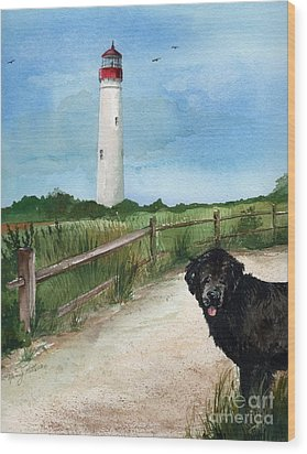 Newfy At Cape May Light  Wood Print by Nancy Patterson