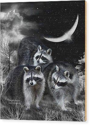 Night Bandits Wood Print by Carol Cavalaris