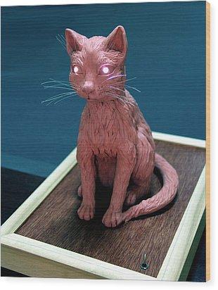 Night Cat Wood Print by Yelena Rubin