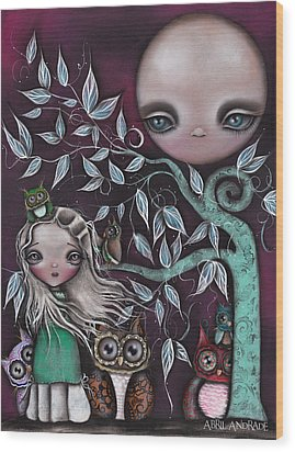 Night Creatures Wood Print by  Abril Andrade Griffith