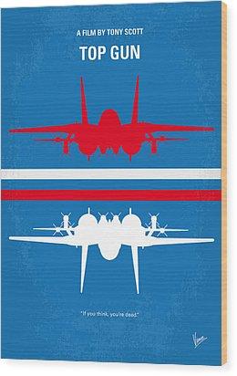 No128 My Top Gun Minimal Movie Poster Wood Print by Chungkong Art