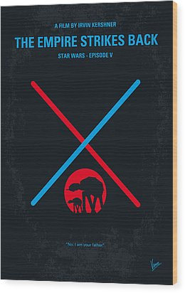 No155 My Star Wars Episode V The Empire Strikes Back Minimal Movie Poster Wood Print by Chungkong Art